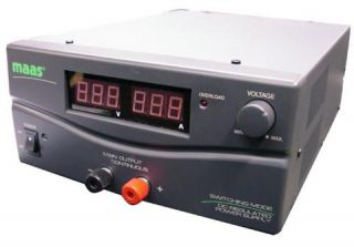 Maas SPS-9402 Power Supply, Switched Mode, Input 230VAC, Output adjustable 3 - 30 VDC or fixed 13.8VDC, Load Continuous 20A and Short 23A, Digital LED-Meters for Volt and Ampere.