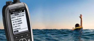 Icom IC-M93D mere käsiraadiosaatja ujuv ja vilkuv, GPS-ga, DSC, 5W, 1500mAh LiIon aku, IPX7