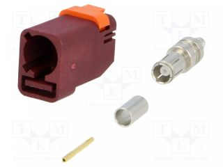 Plug;FAKRA II SMB;female;straight;RG174,RG316;crimped;claret