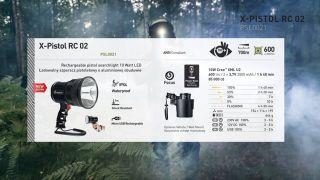 Mactronic X-Pistol RC 02 Rechargeable searchlight 10 Watt LED, 600lm, focus, battery 2800mAh, powerbank