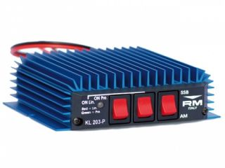 RM Italy KL203P Amplifier Mobile, preamplifier 26dB, 12-14 VDC, 18-30 MHz, AM/FM/SSB/CW, Electronic Switch