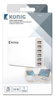 König WCHAU1000AWH USB laadija 6-väljundit 10 A USB Valge
