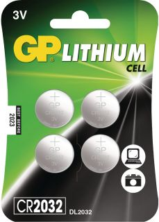 GP Lithium Button Cell Battery CR2032 3V 4pcs - Blister Card
