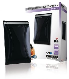 König KN-DVBT-IN61L Amplified Indoor DVB-T/T2 - DAB+ Antenna 28 dB FM / VHF / UHF