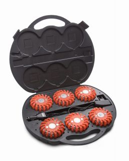 Mactronic signal disc, red light, rechargeable, set (6x disc, 230V and 12V charger, case), red colour, box