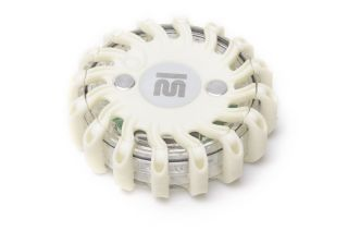 Mactronic signal disc, white light, rechargeable, set (230V and 12V charger), white colour