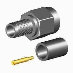 SMA male connector (plug) crimp-solder for RG58/RF195 nickel