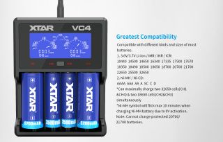 XTAR-VC4 Fast-charging LCD Li-ion/ Ni-MH Battery Charger